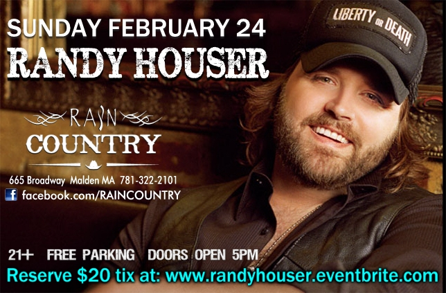 RANDY HOUSER live at RAIN COUNTRY Sunday Feb 24 7pm