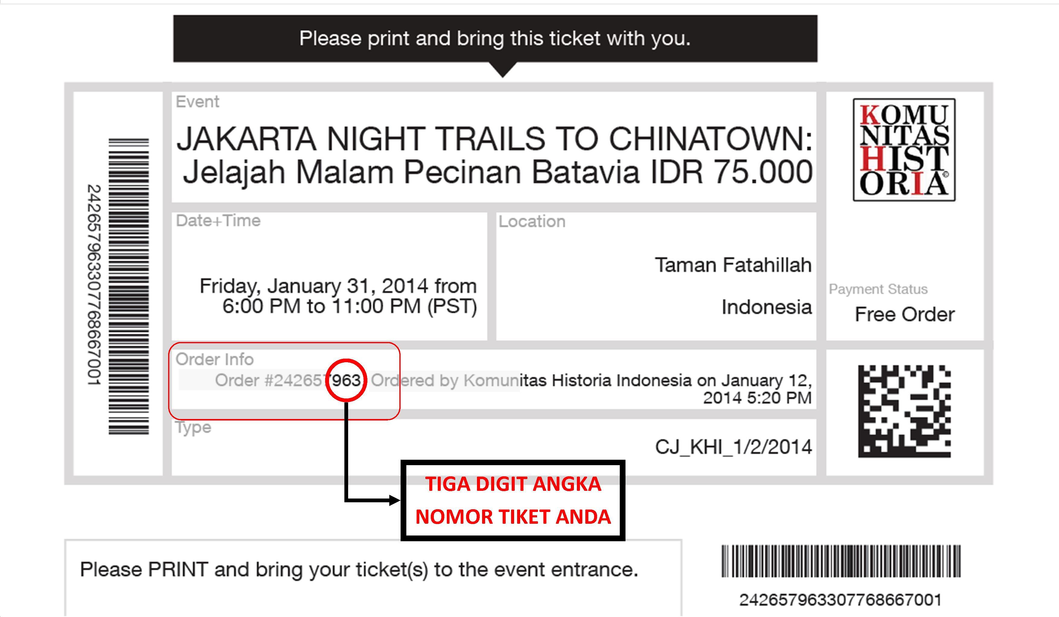 Contoh Tiket