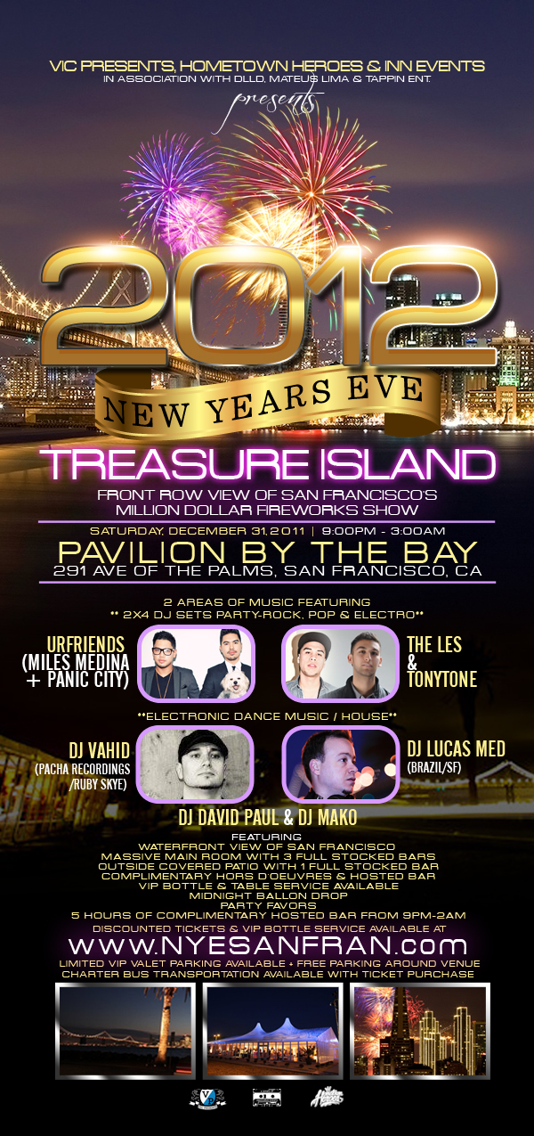 New Years eve treasure island, 2012 new years eve, open bar, house music, djs, san francisco events on new years,