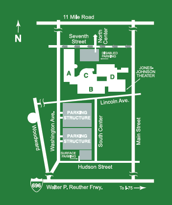 Map to Royal Oak Campus