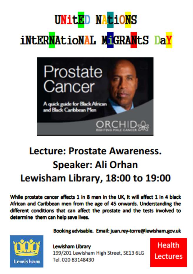 Prostate Cancer Seminar Lewisham Library