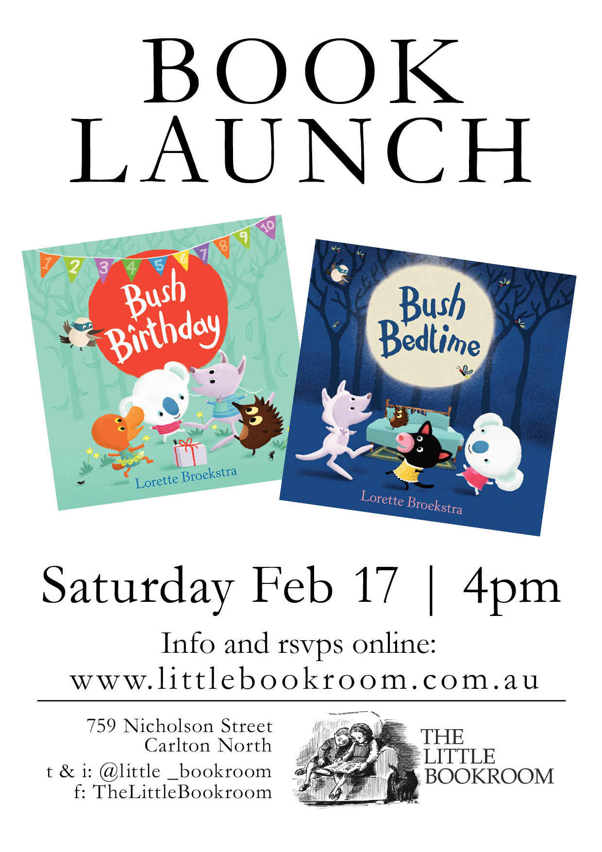 Book launch Bush Birthday and Bush Bedtime February 17th