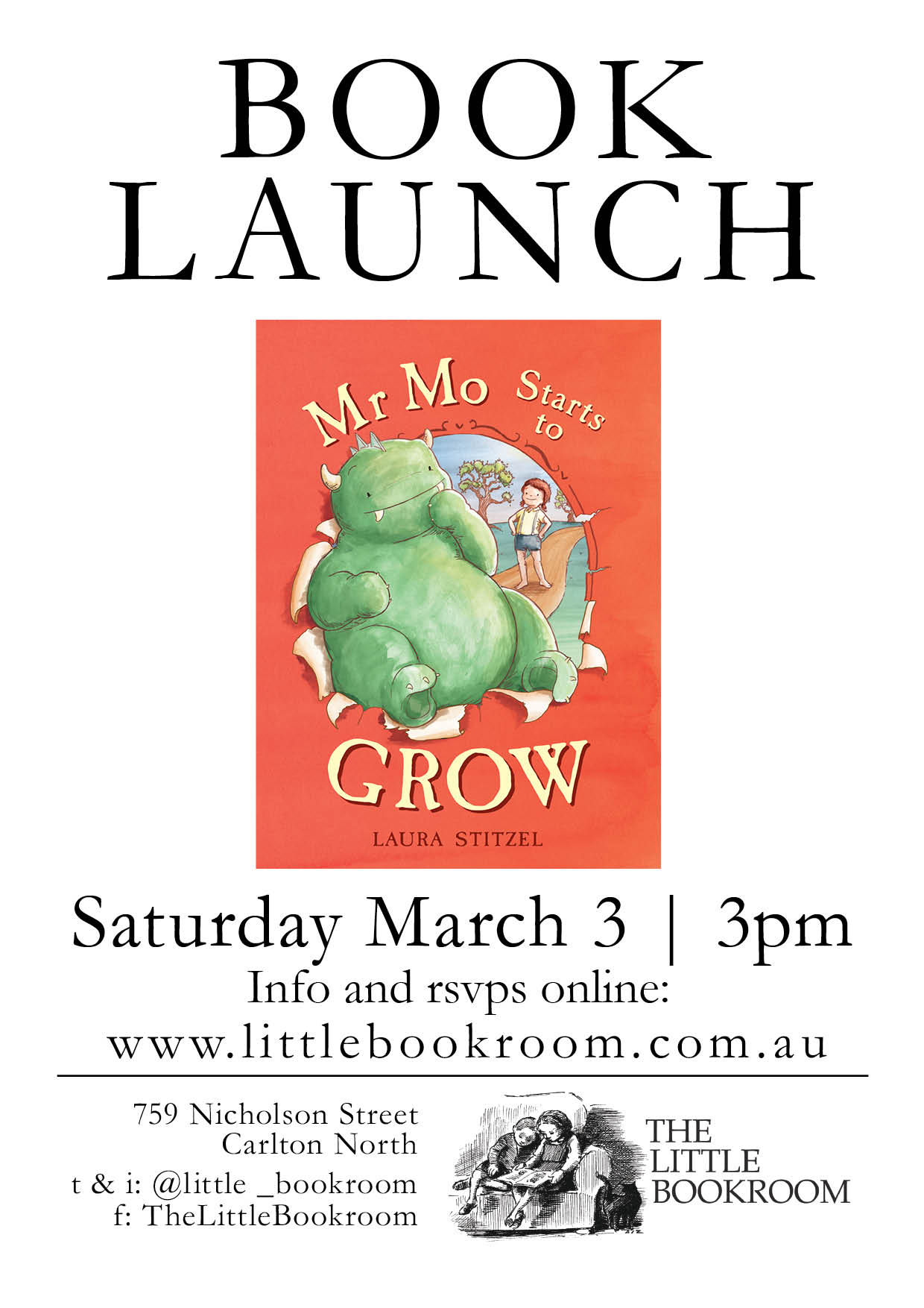Book Launch Mr Mo Start to Grow Saturday March 3rd