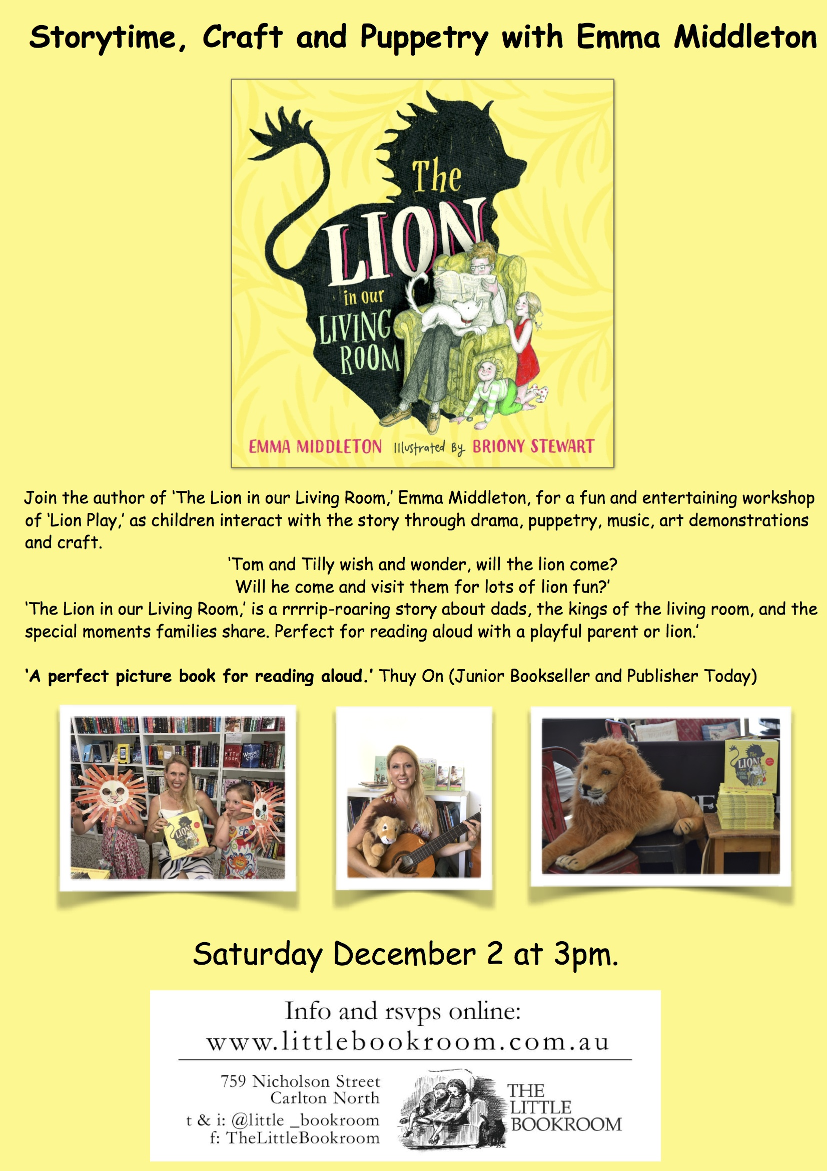 Storytime with Emma Middleton - Saturday December 2nd 3pm