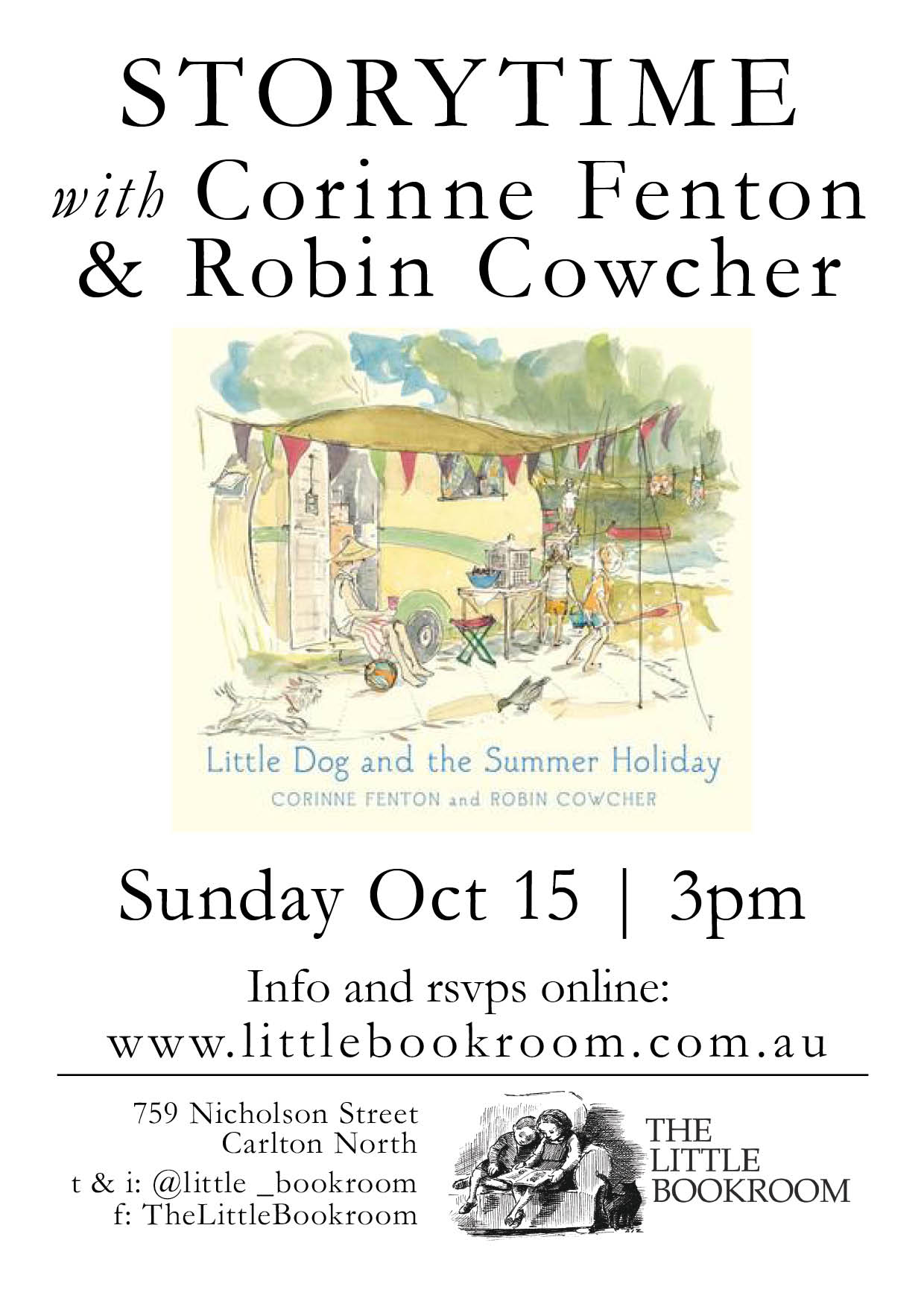 Storytime with Corinne Fenton & Robin Cowcher -Sunday October 15th - 3pm