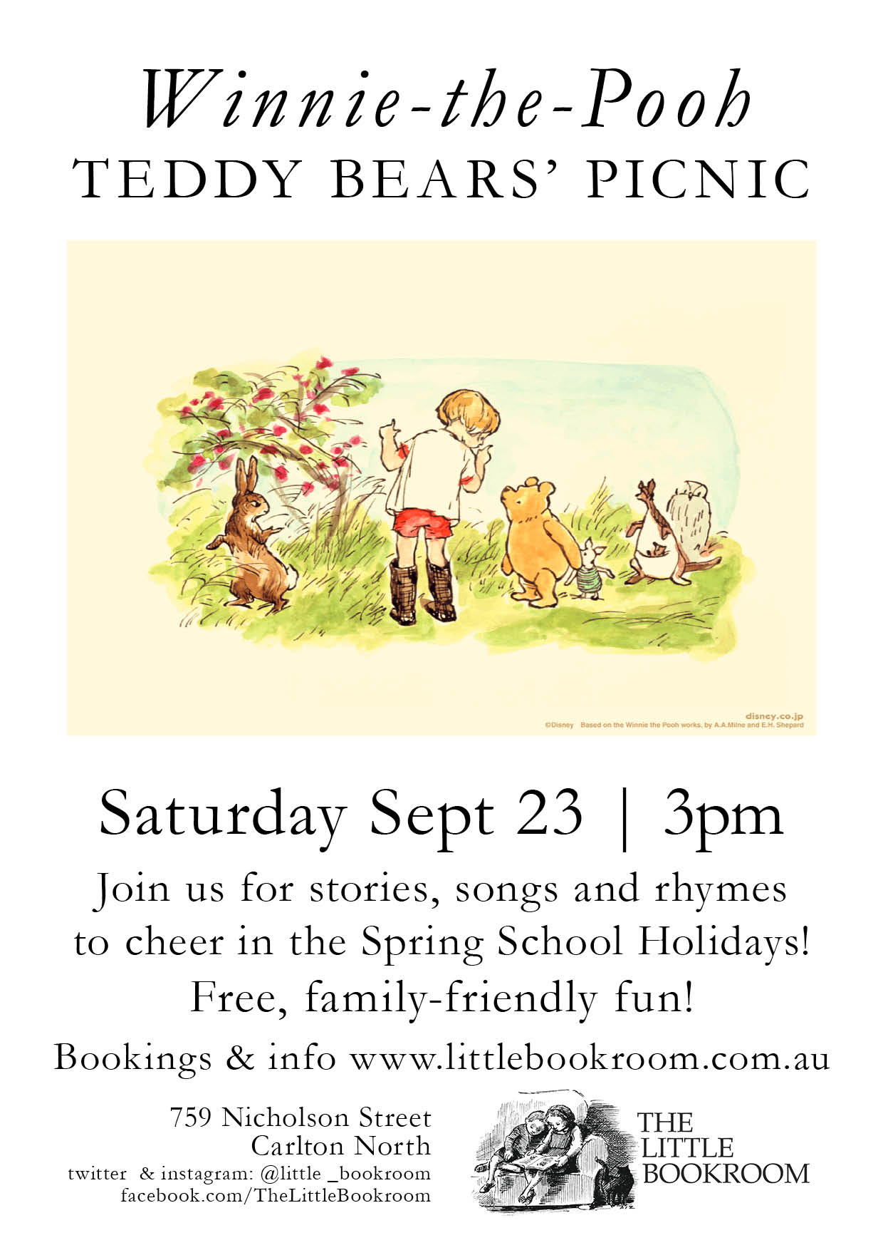 Winnie the Pooh Teddy Bears' Picnic Saturday 23 September 3pm