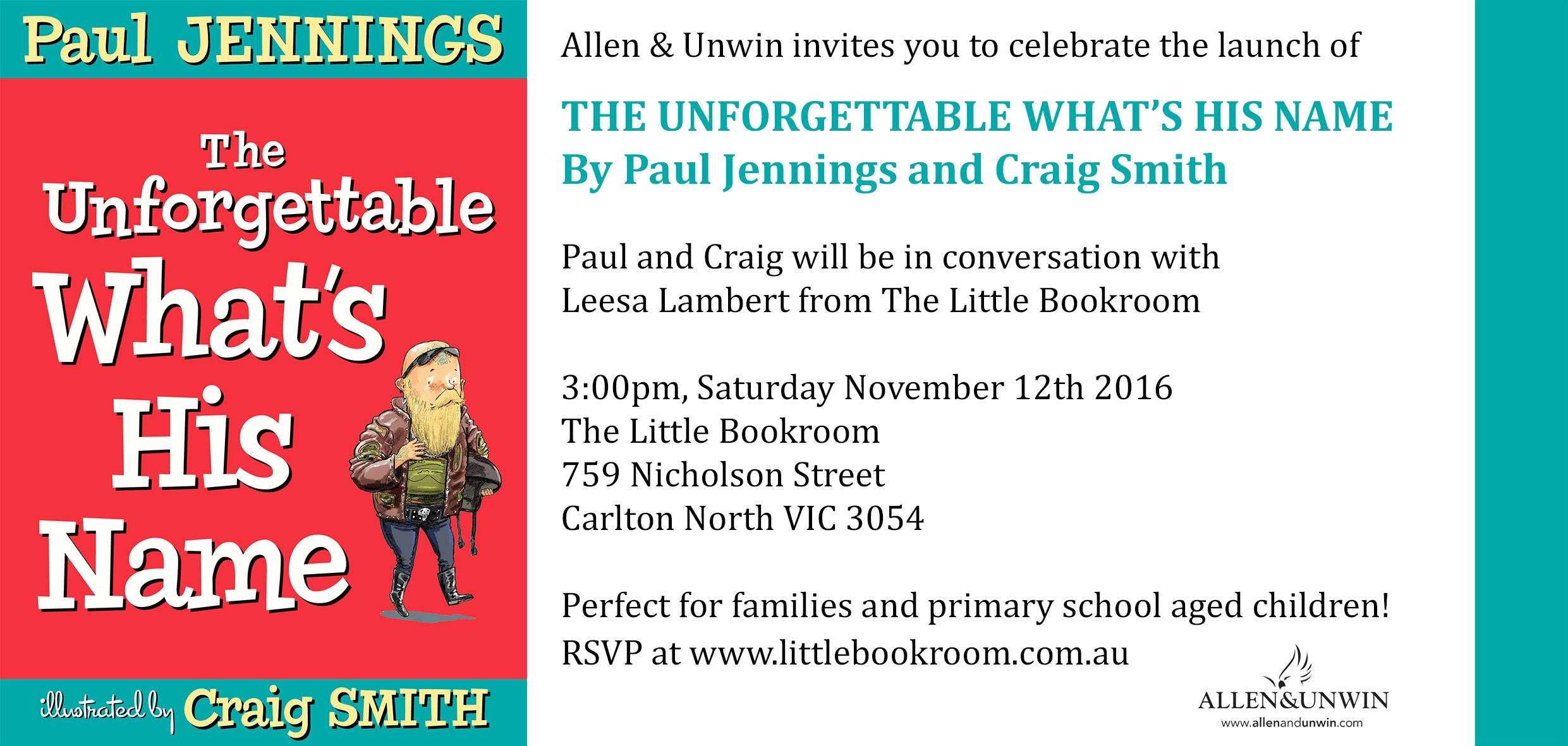 Book Launch: The Unforgettable What's His Name by Paul Jennings & Craig Smith