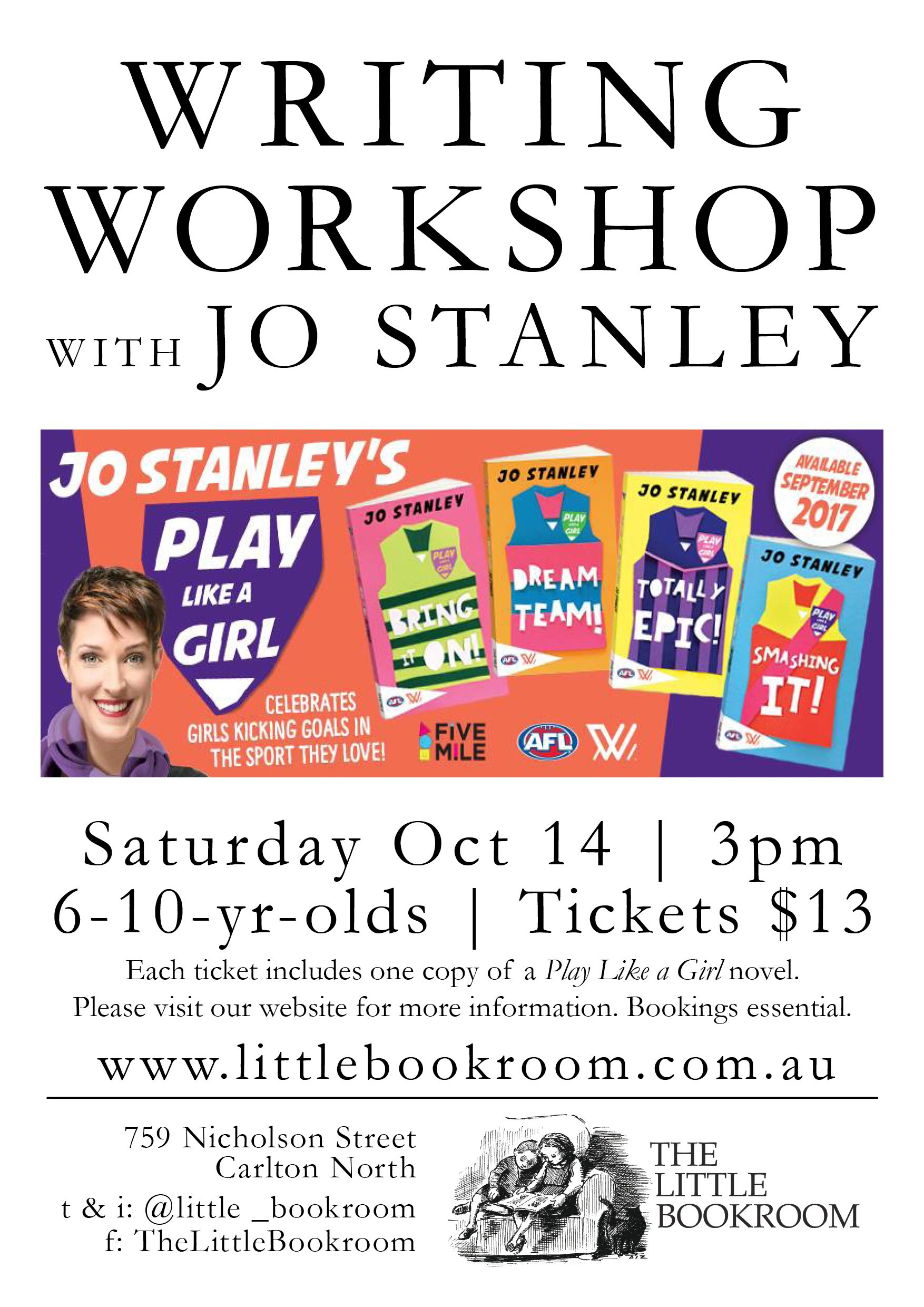 Writing Workshop with Jo Stanley Saturday October 14th 3pm - $13