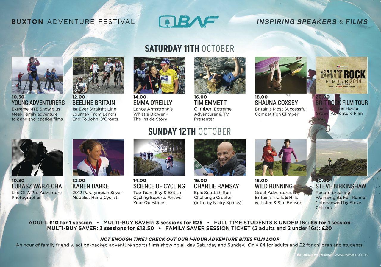 Buxton Adventure Festival programme