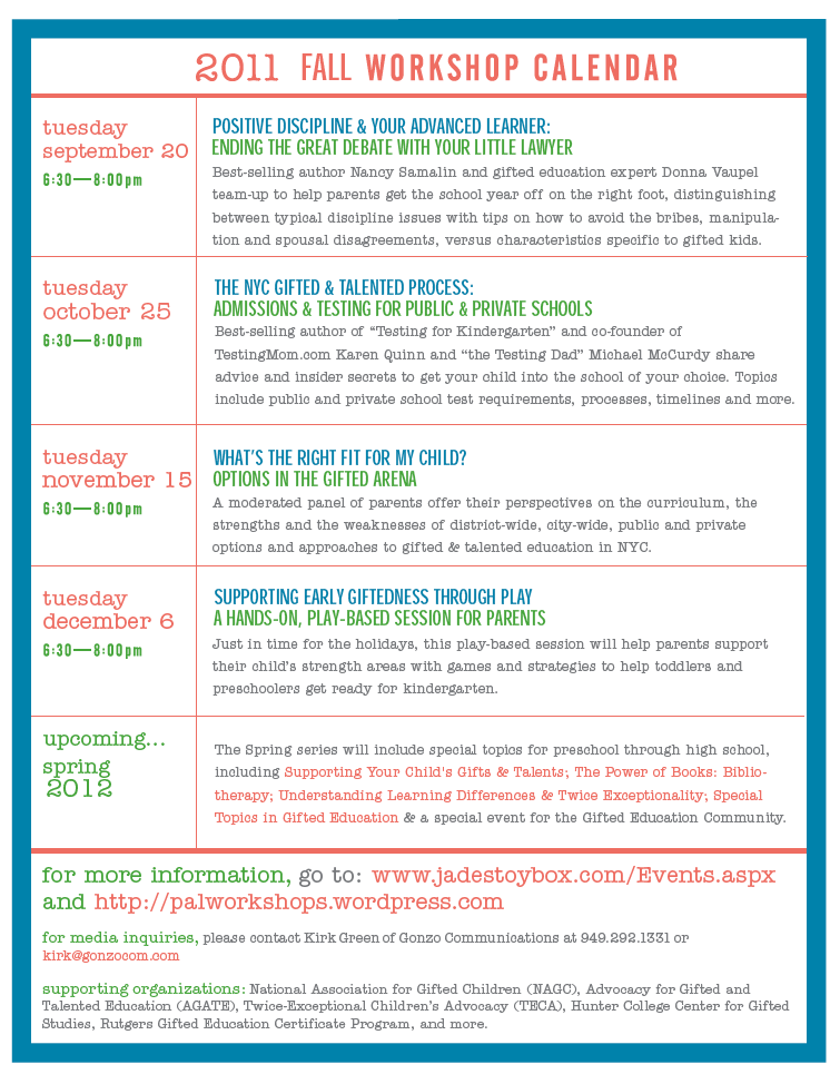 P.A.L. Events Calendar