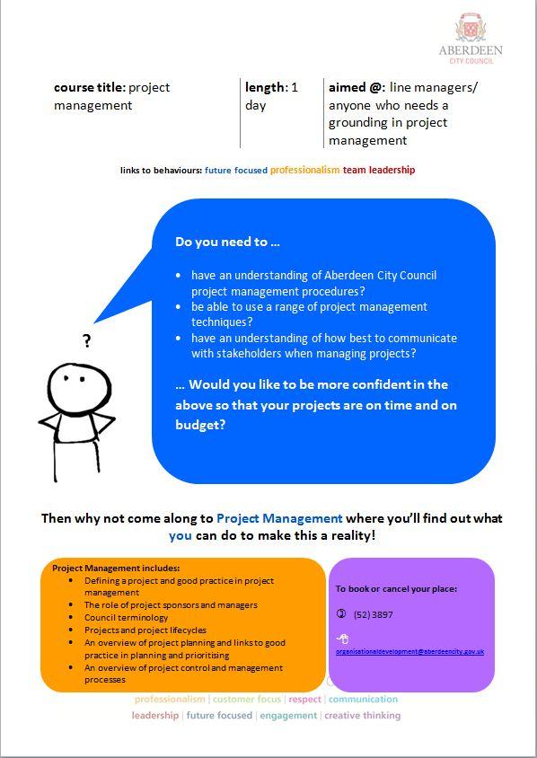 Project Management course descriptor