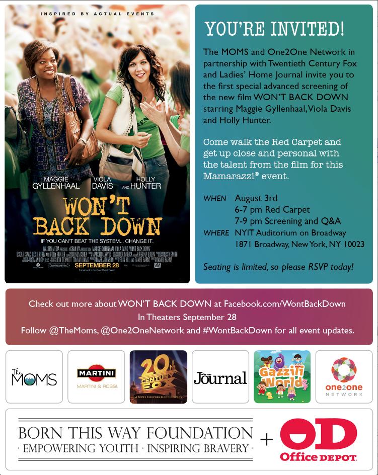 Won't Back Down Aug 3 advance screening