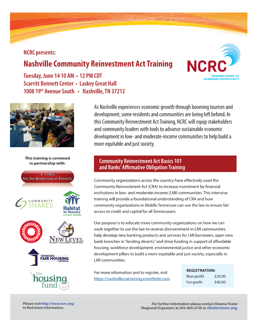 Promotional Flier for Nashville CRA Training