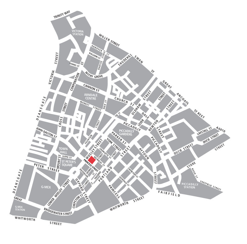 Map of venue with Princess Street entrance