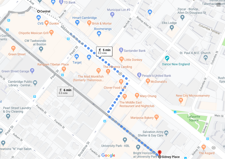 Map of Central Square to Sidney Place