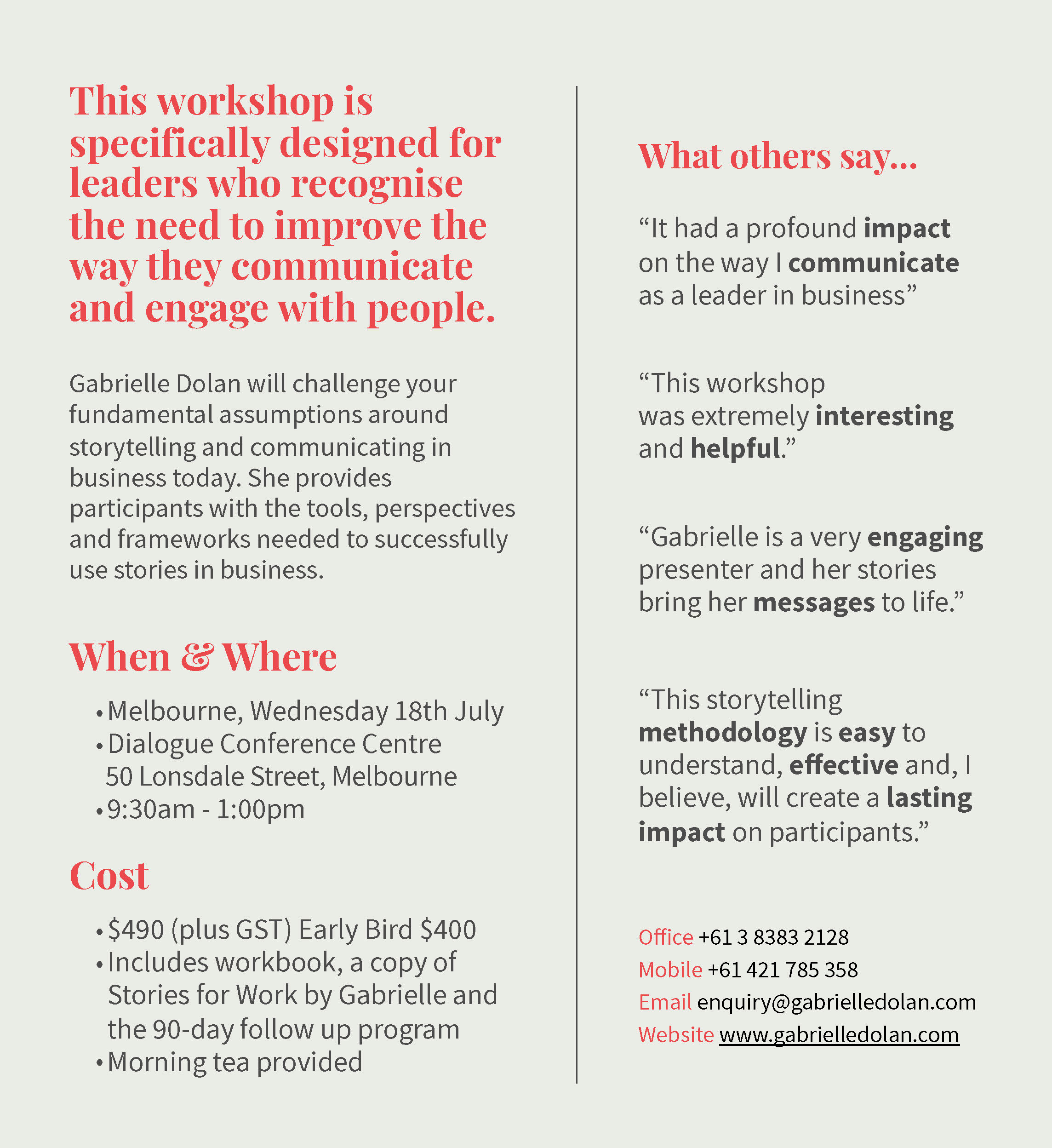 Public Business Storytelling Workshop - Description