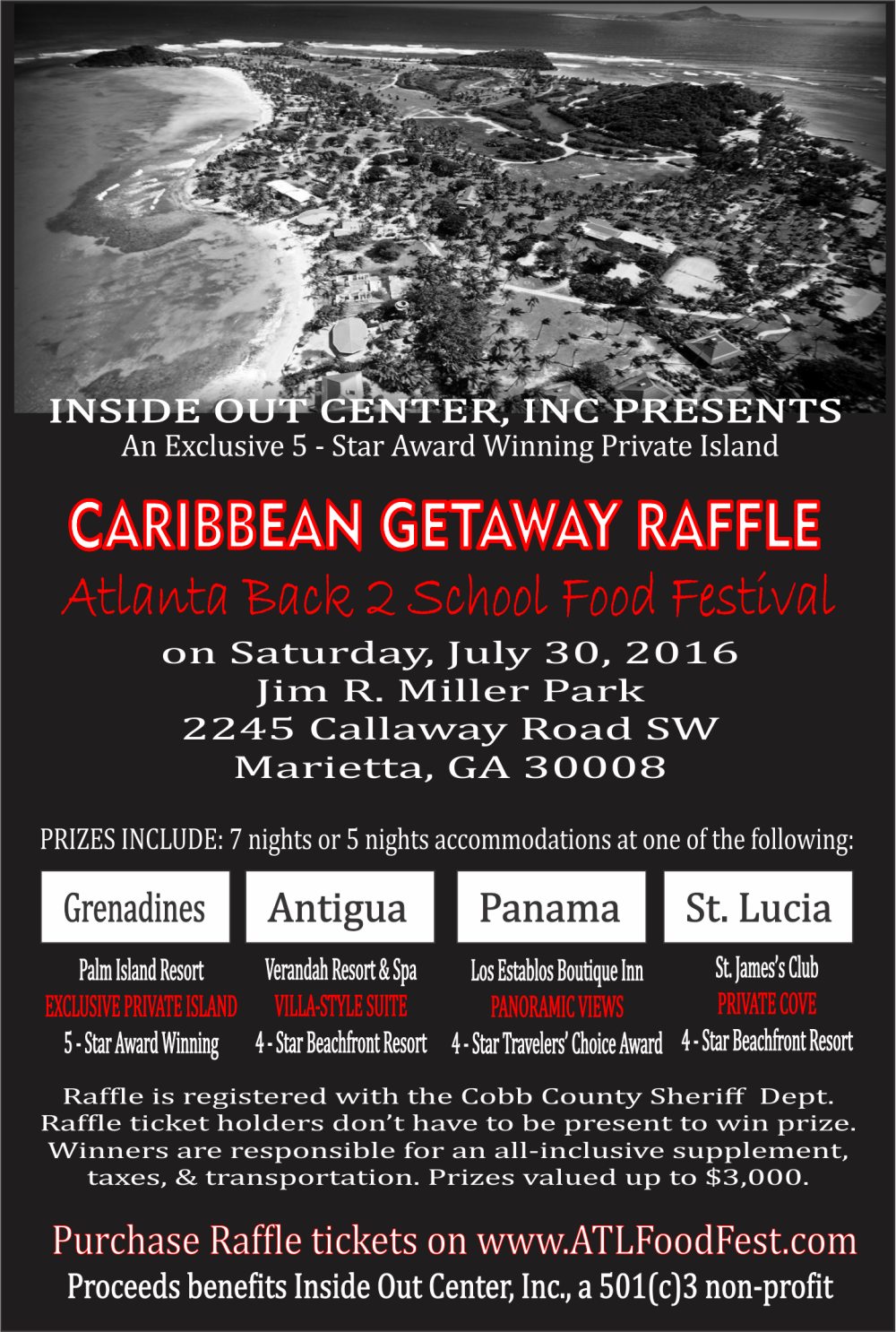 flyer Caribbean vacation giveaway sweepstakes raffle st lucia antigua panama