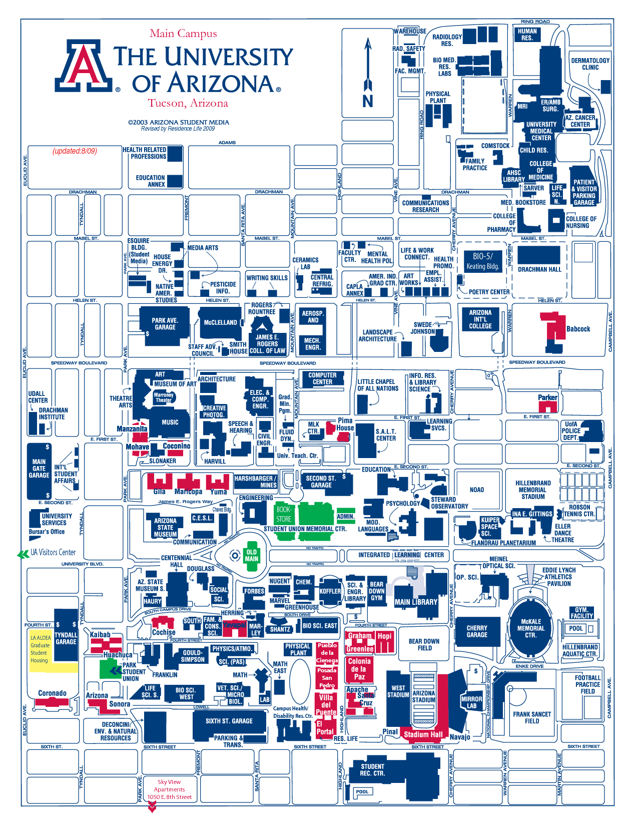 Exceptional image intended for university of arizona campus map printable