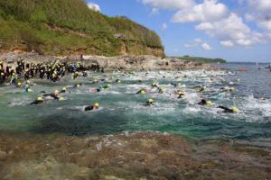 Swimmers taking part in the castle to castle swim