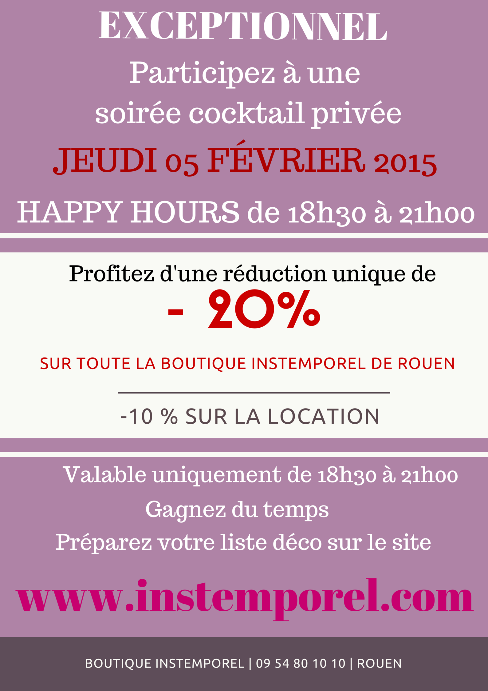 soir e cocktail priv e instemporel happy hours 20 sur toute la boutique de rouen billets. Black Bedroom Furniture Sets. Home Design Ideas