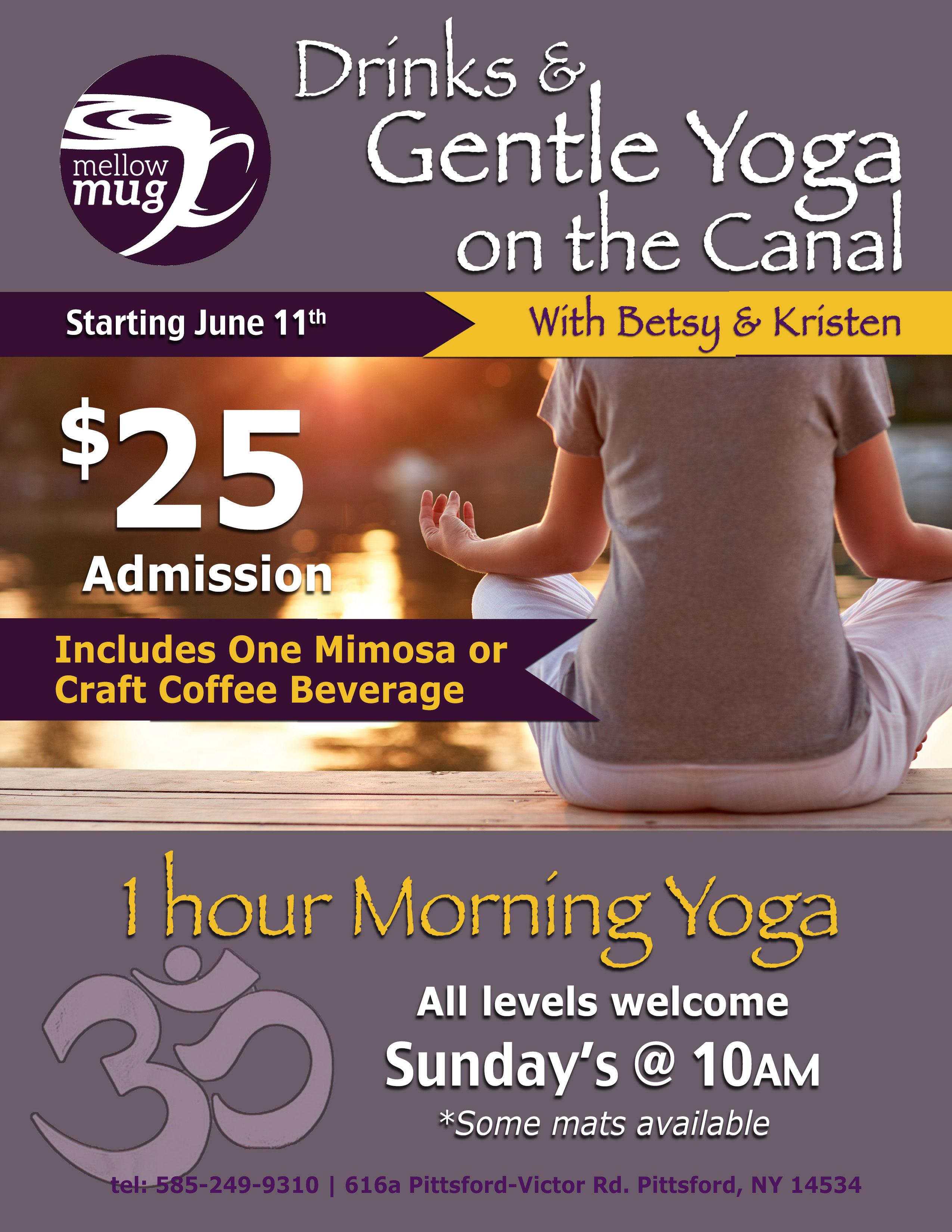 Yoga and Mimosas at Mellow Mug Poster