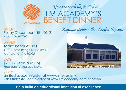 Benefit Dinner Dec 2012 Details