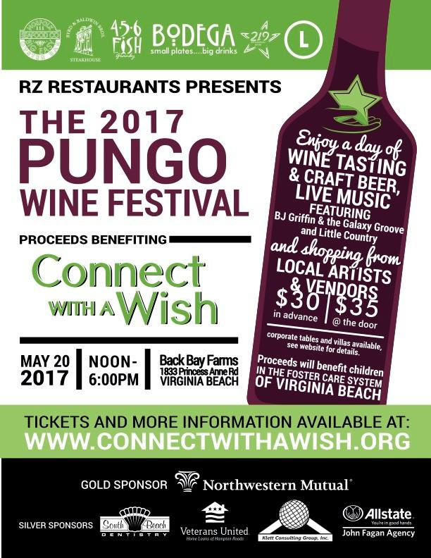 The 6th Annual Pungo Wine Festival is May 20, 2017!!  Please join us at the beautiful Back Bay Farms for the 2017 Pungo Wine Festival benefiting Connect With a Wish presented by Rz Restaurants. Come out and enjoy a fun-filled day of wine tasting from some of your favorite Virginia wineries. Plus there will be live music by BJ Griffin and the Galaxy Groove AND Little Country, craft beer, food trucks and local artist and vendors. Tickets are $30 in advance and $35 at the door. Wristband and tasting glass will be provided for guests ages 21 and over. Bring a blanket or chair, invite your friends and come enjoy a great day for a great cause.  *Please contact Pungowinefestival@gmail.com with any questions or to book Corporate Tables and Luxury Villas. Thank You!!  **Sorry no refunds or rain date.