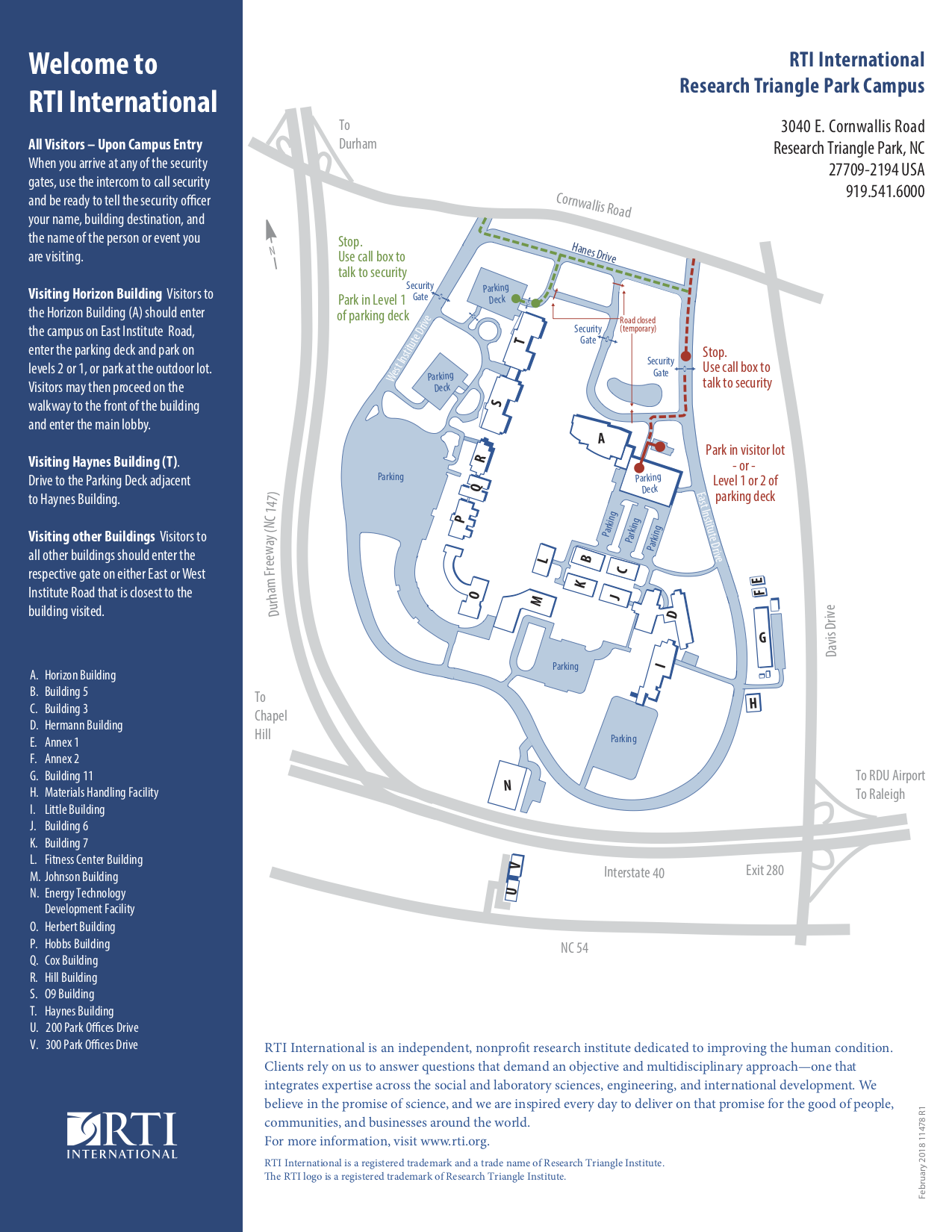 RTI International RTP Campus Map
