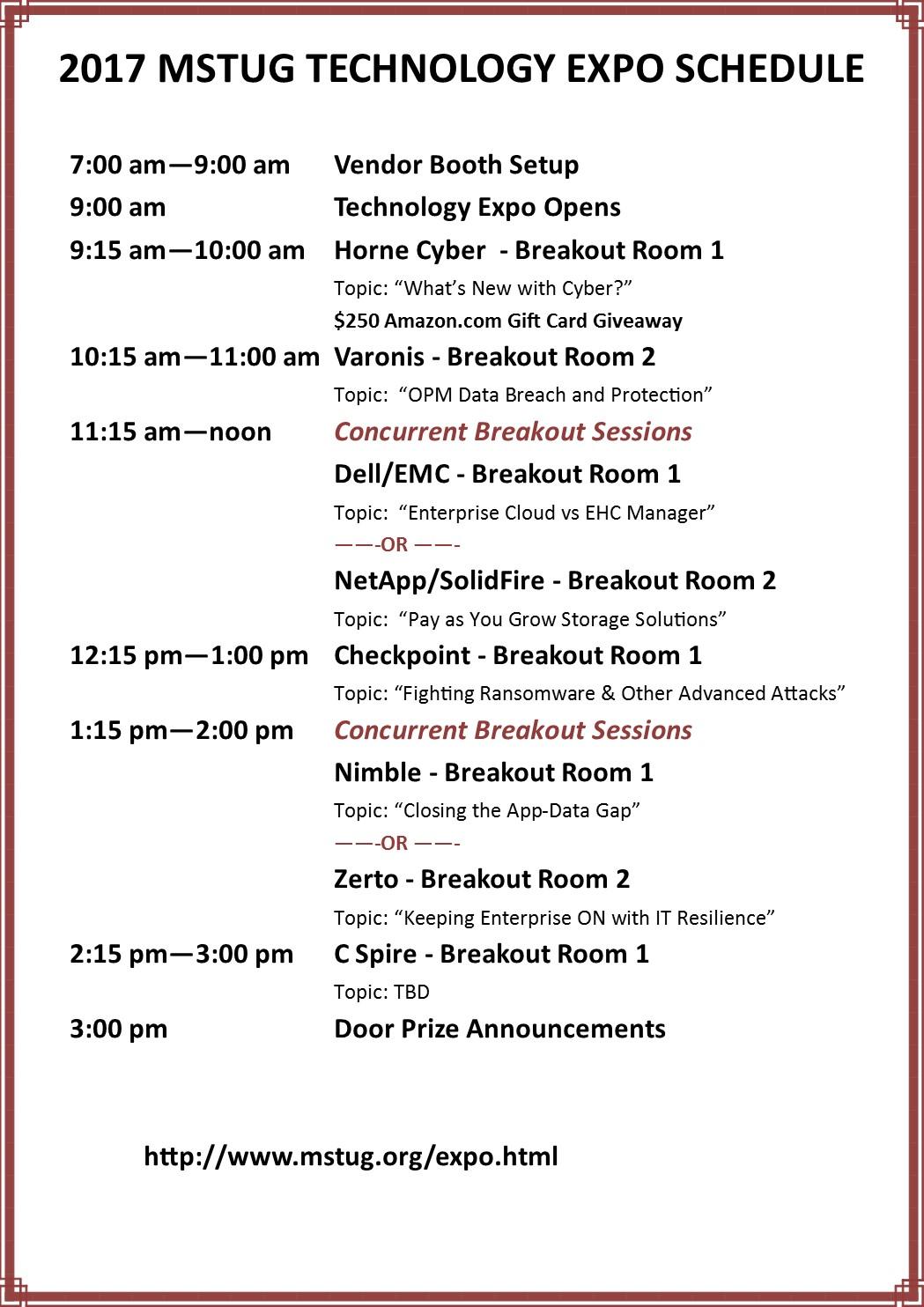 Expo Schedule