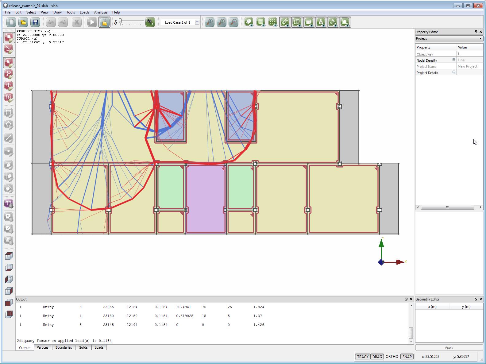 Yield-line analysis of an apartment block floor slab