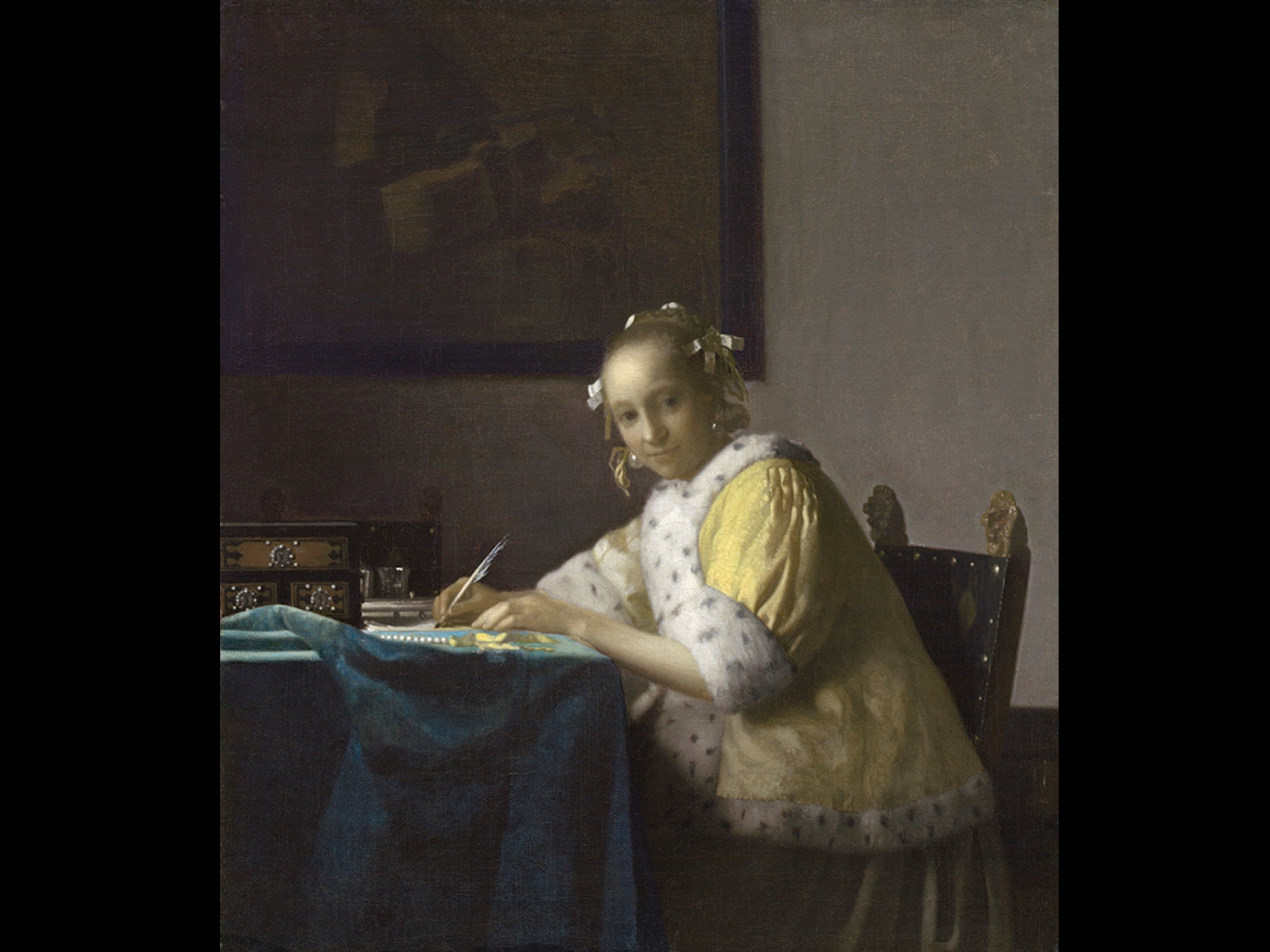 A Lady Writing by Johannes Vermeer, from about 1665