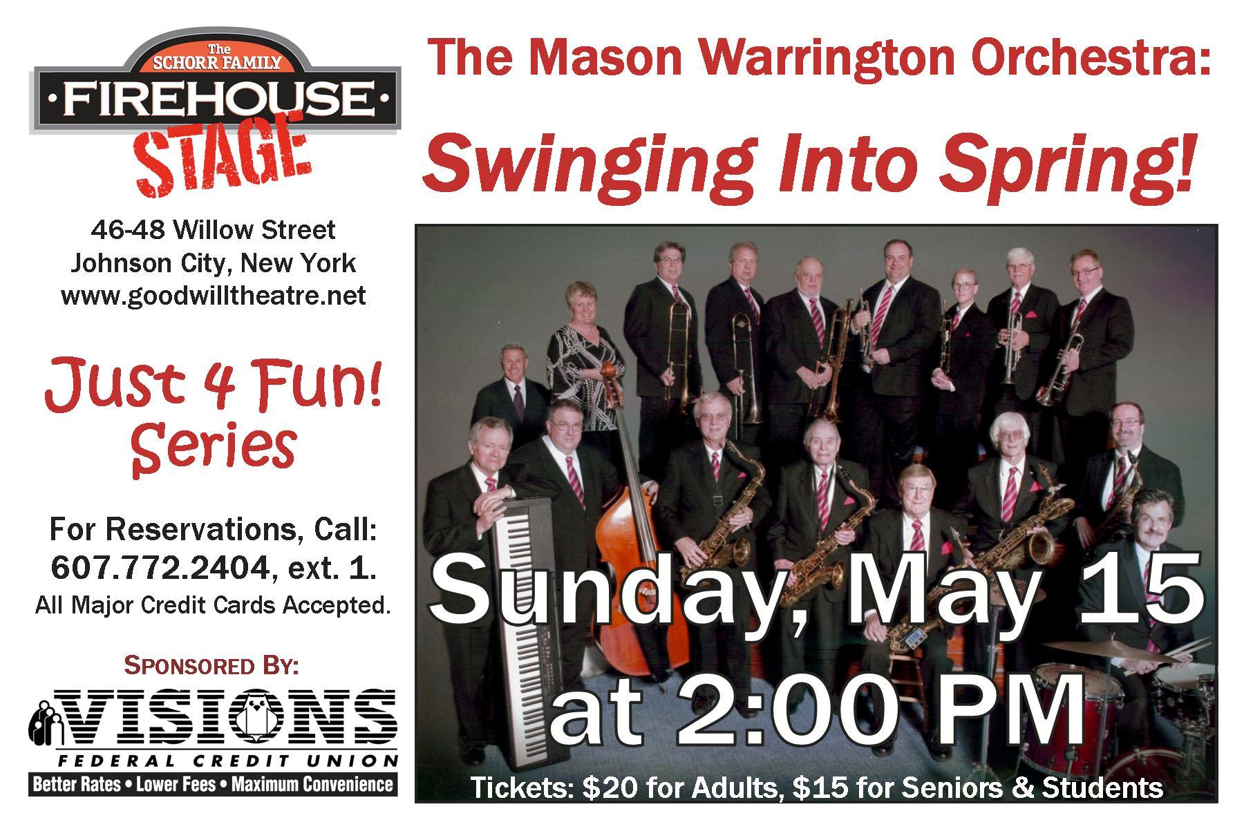 Mason Warrington Orchestra: May 15 at 2PM