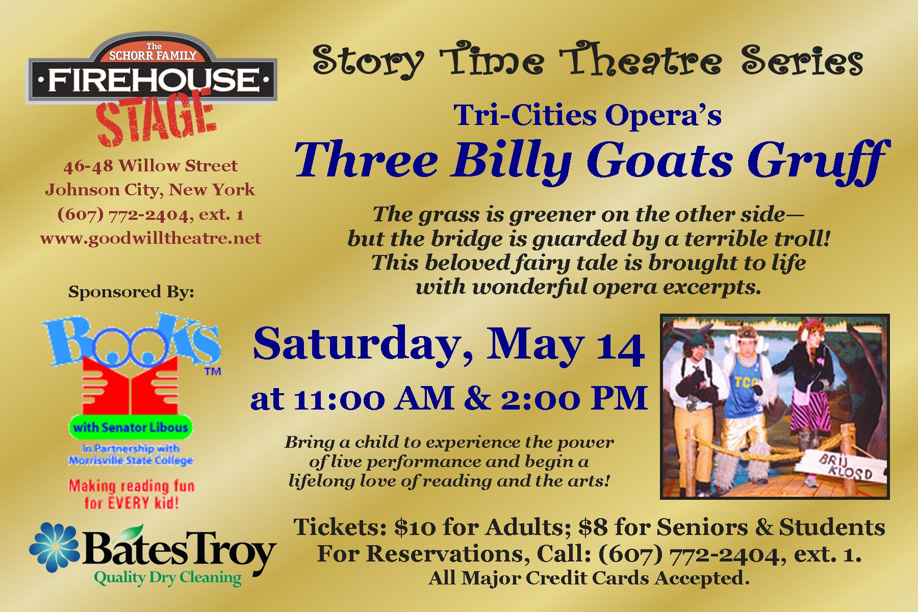 Three Billy Goats Gruff - May 14 at 11:00 AM & 2:00 PM