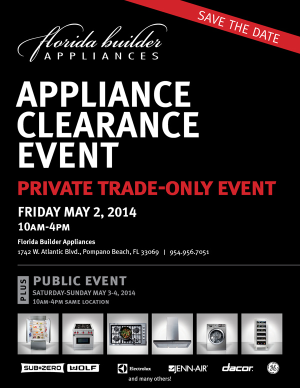 florida builder appliances clearance