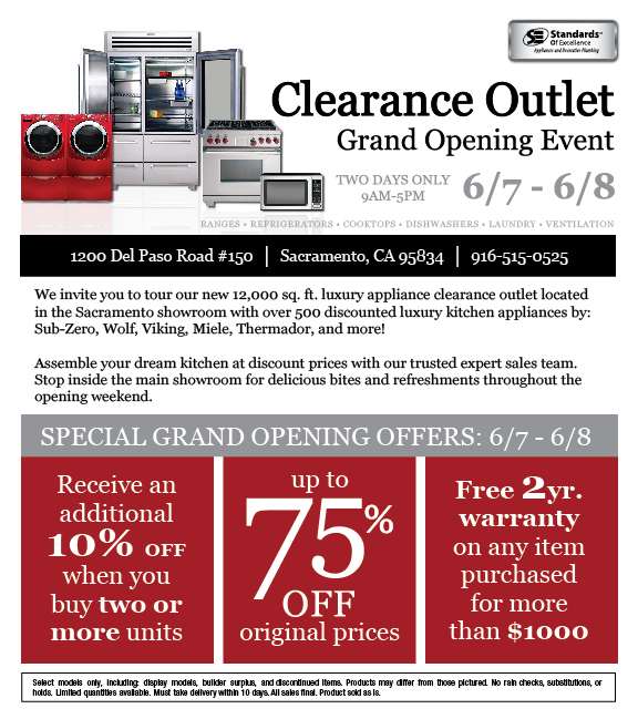 Sacramento Clearance Outlet Grand Opening