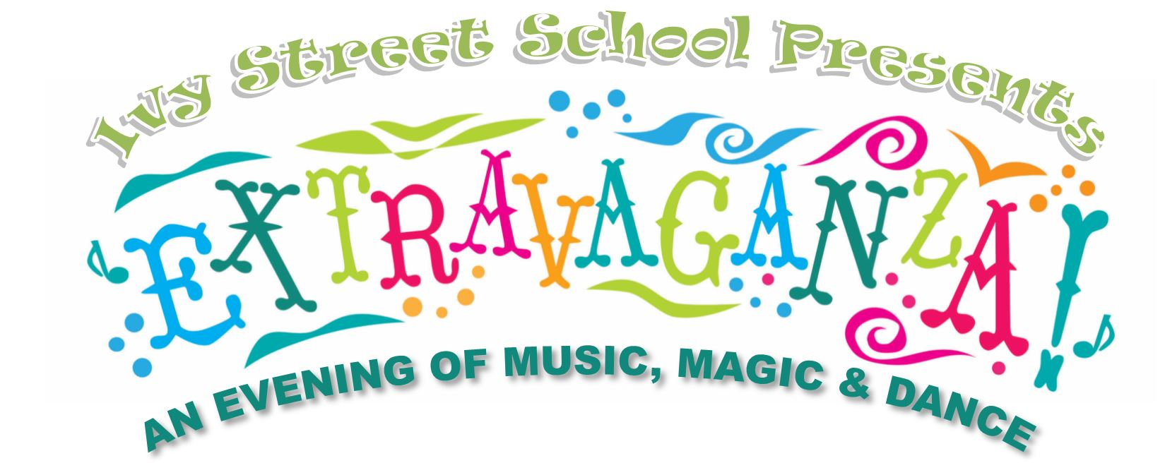 Extravaganza logo Isvy St School Presents and evening of music magic and dance