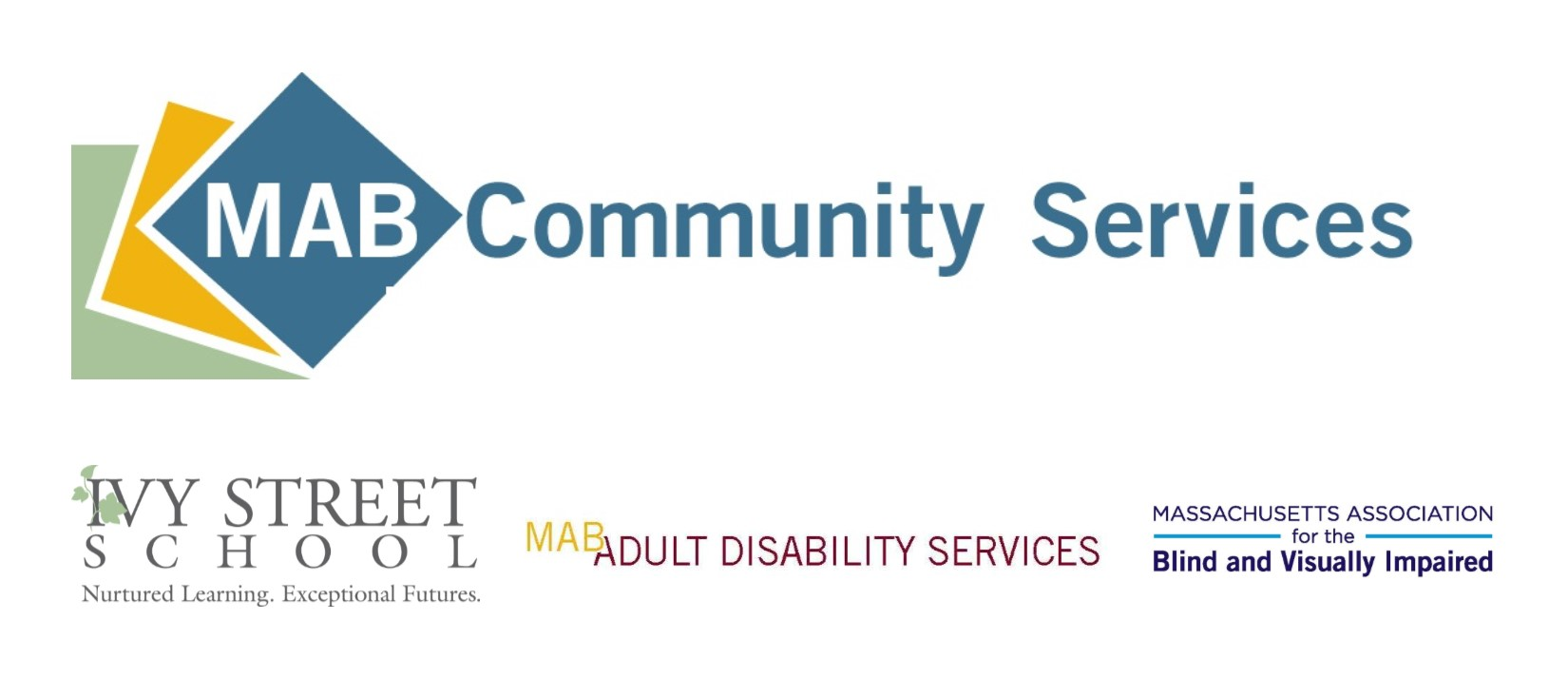 Logos for MAB Community Services and its divisions