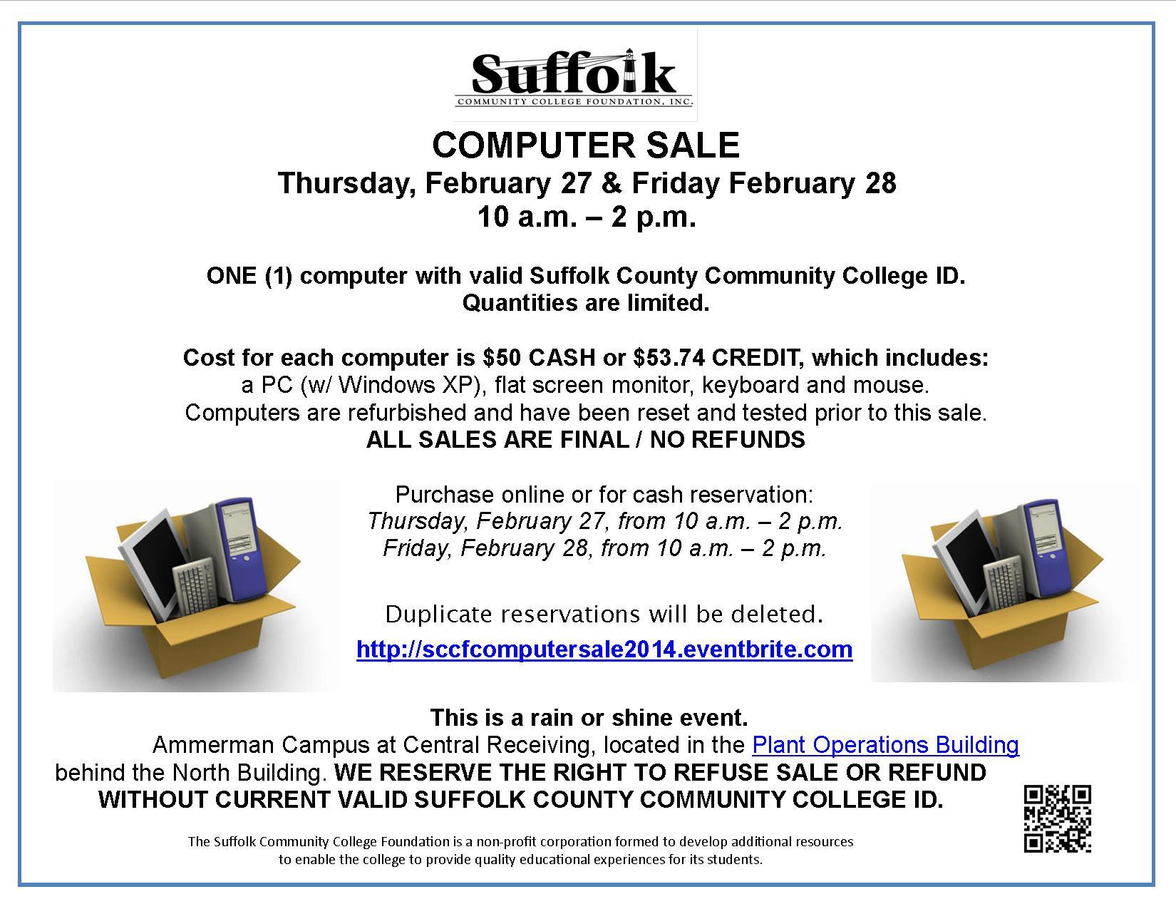 Suffolk Community College Foundation Computer Sale Flyer