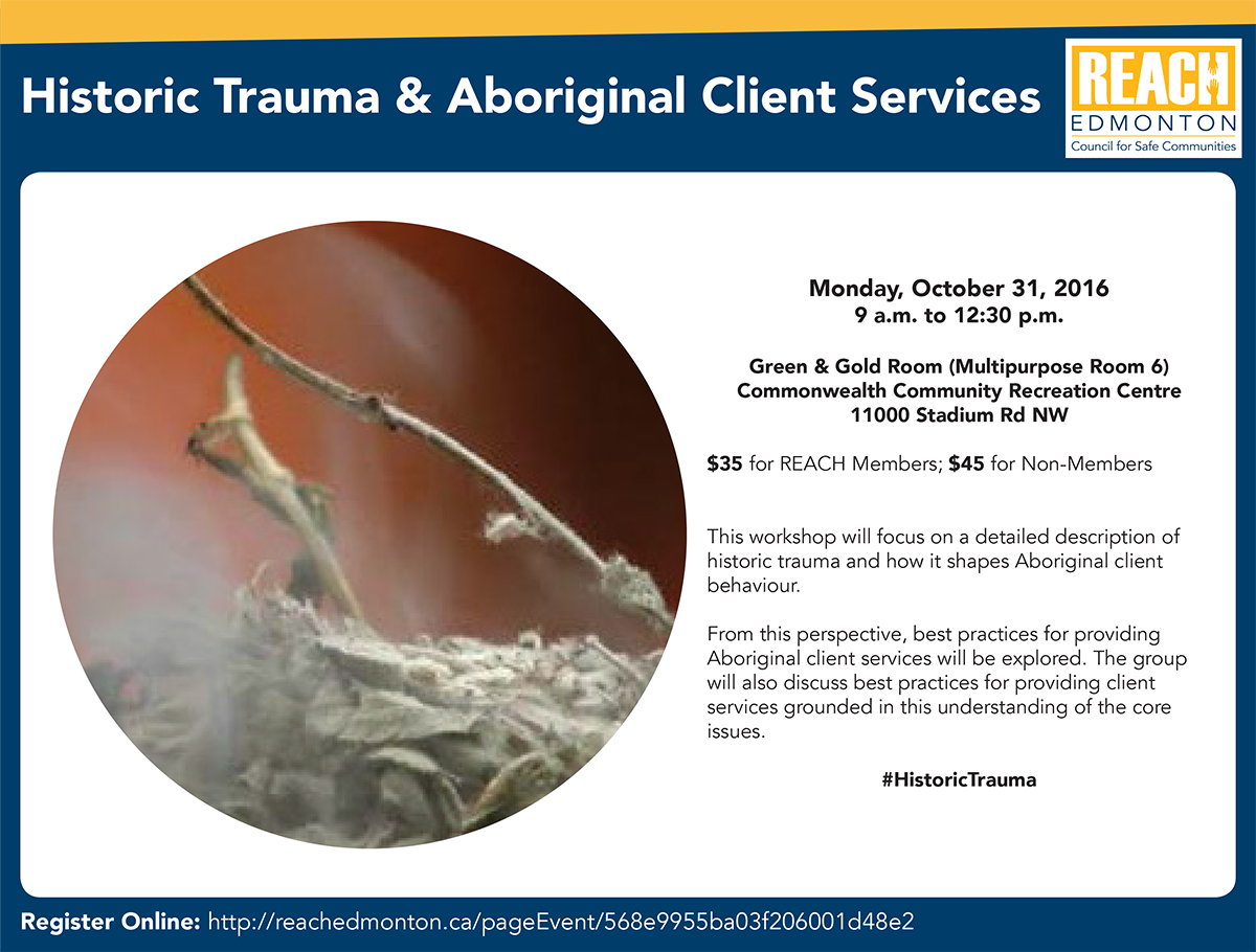 Historic Trauma & Aboriginal Client Services Workshop Poster
