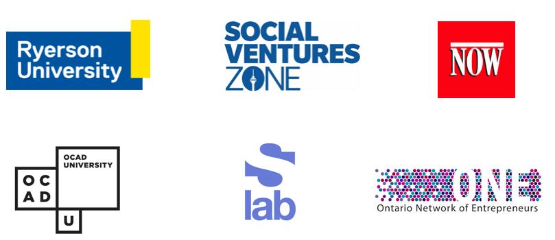 Logos for Ryerson University, SocialVentures Zone, NOW Magazine, OCAD University, sLab, Ontario Network of Entrepreneurs