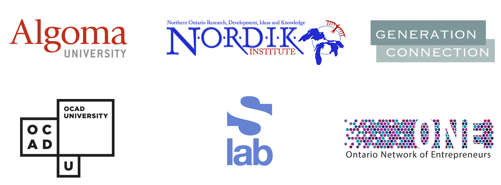 logos for Algoma U, NORDIK, OCADU, sLab, ONE