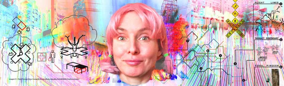 Natalie Jeremijenko portrait & collage