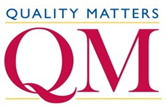 Quality Matters logo, blue text, and red captial letters QM.