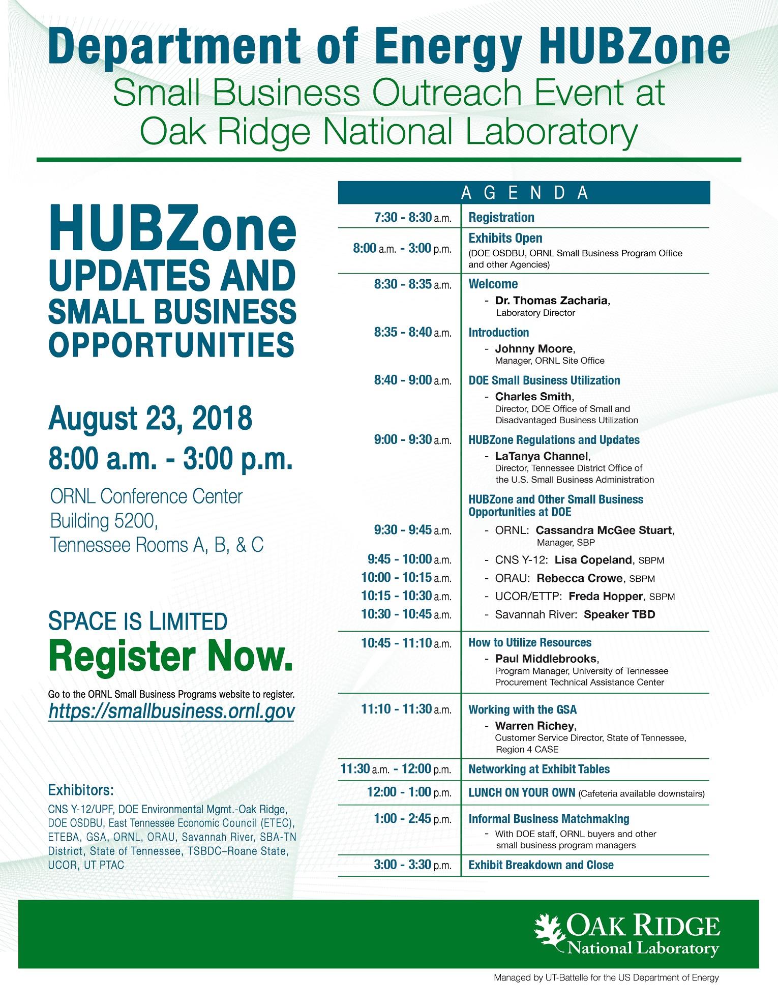 2018 DOE HUBZone SB Event at ORNL