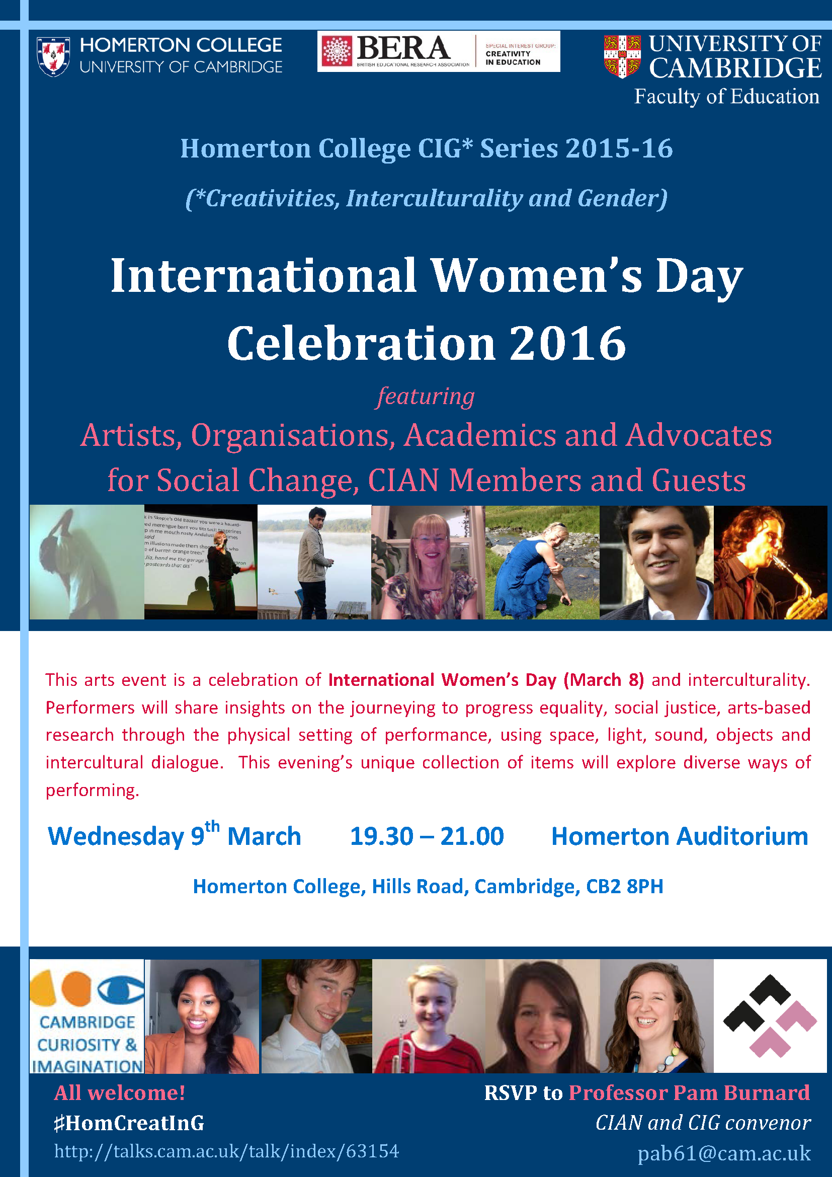 page one of the IWD event flyer