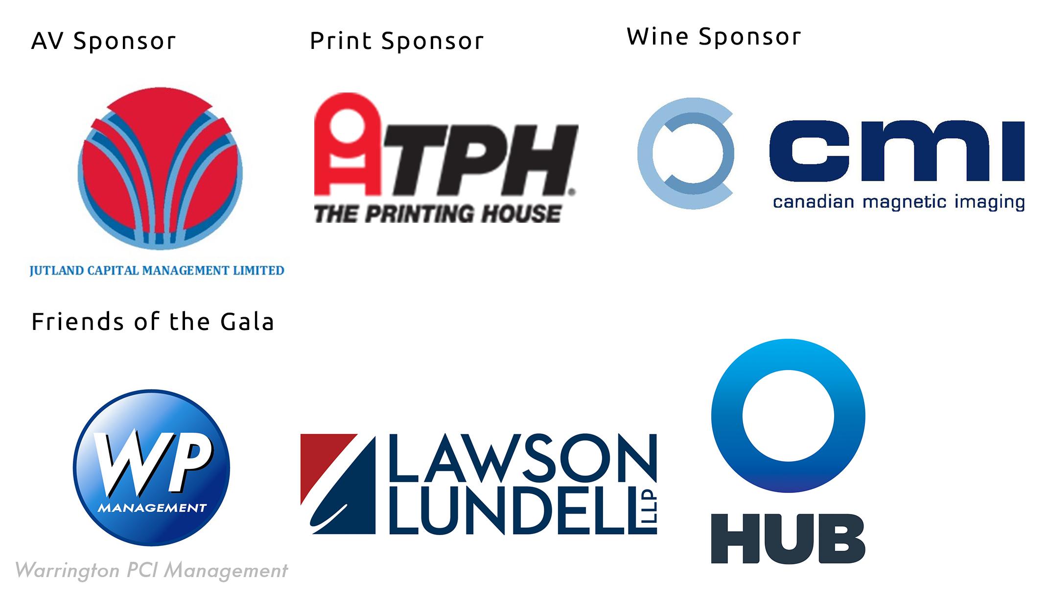 Sponsor logos- print, wine, AV, and friends of the gala