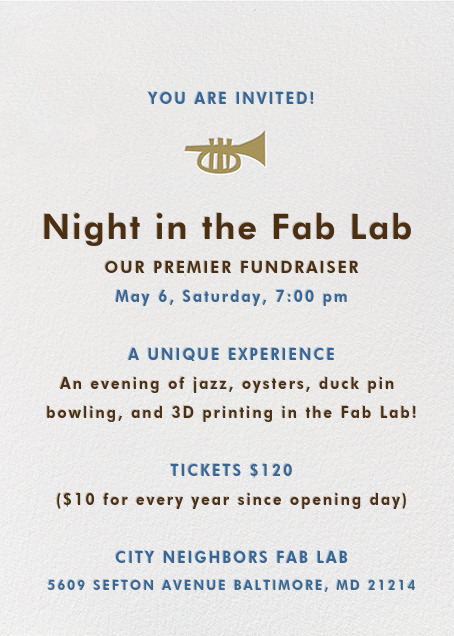 Night in the Fab Lab 2017 Invitation