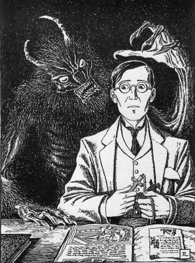 An image of a monster appearing behind a frightened bespectacled man