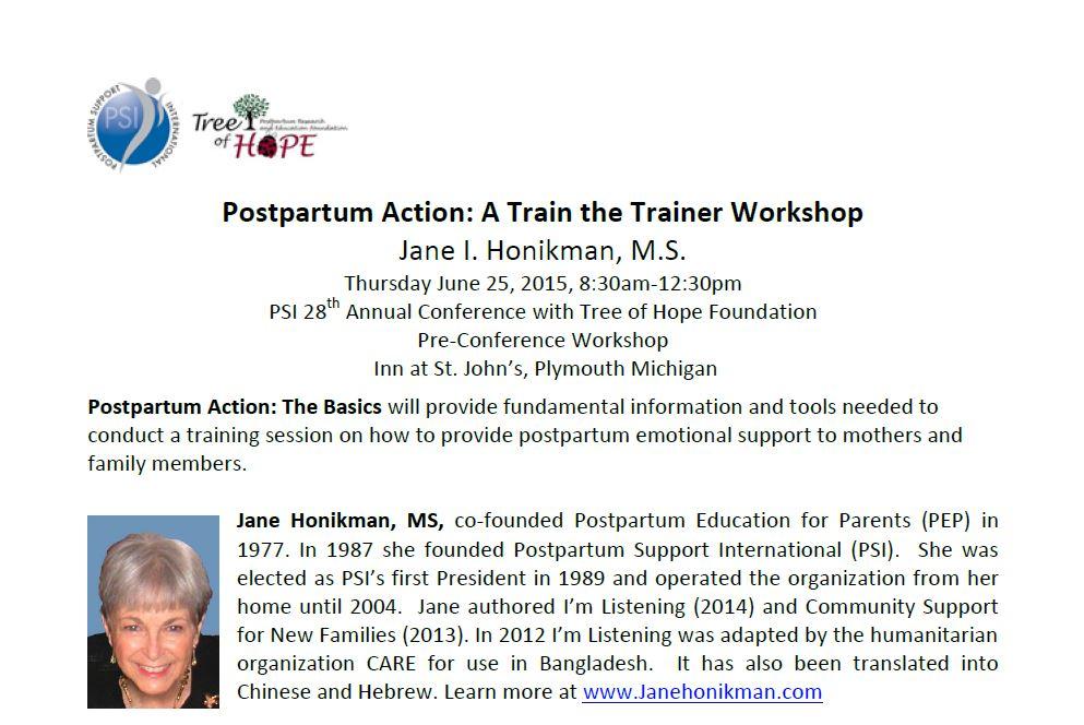 Jane Honikman Workshop Agenda