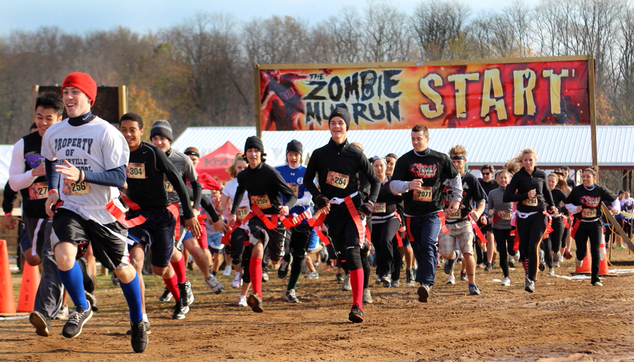 The Zombie Mud Run start